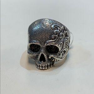 David Yurman diamond sterling skull ring